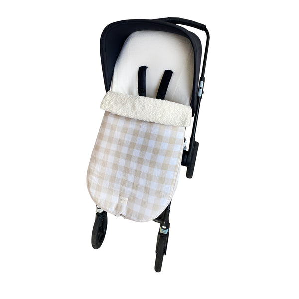 snowflake stroller footmuff - checked linen sand