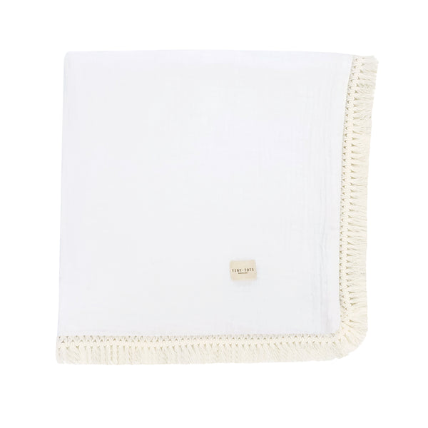 moss rose blanket - chalk white