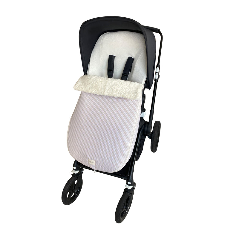 snowflake stroller footmuff - tiny checked sand