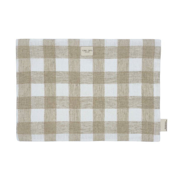 bed sheet protector - checked linen sand