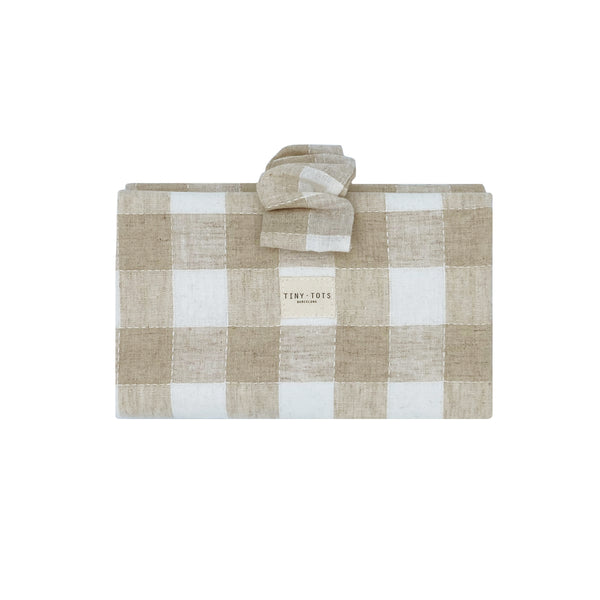 ivy nappy changer - checked linen sand