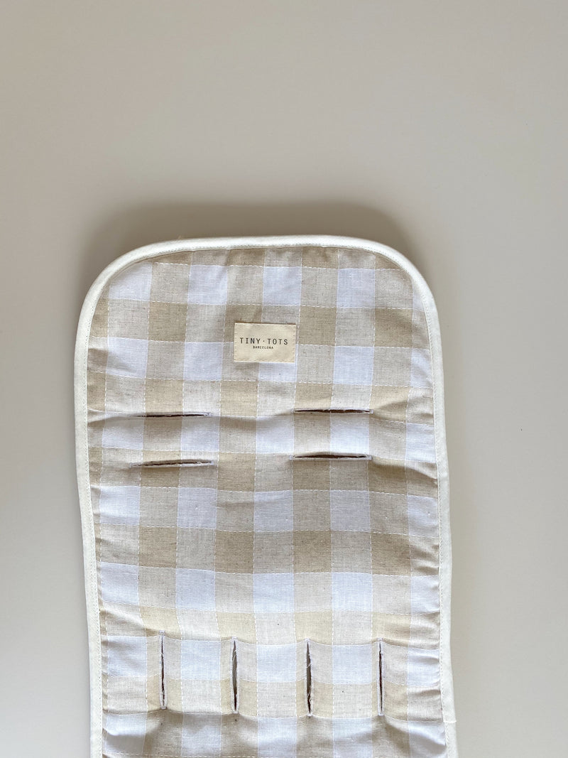 rosemary stroller mat | checked linen sand