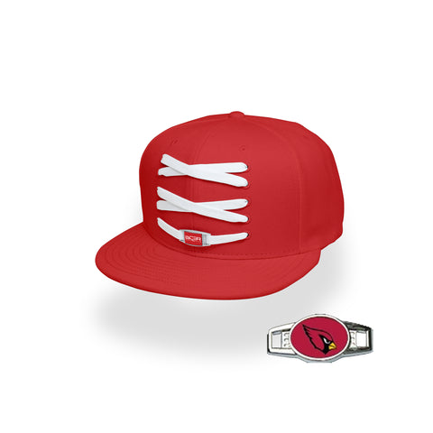 Arizona Custom Red Football Lacer Snapback Set