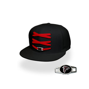 Atlanta Custom Black Football Lacer Snapback Set