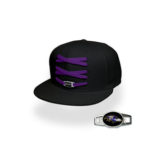 Baltimore Custom Black Football Lacer Snapback Set