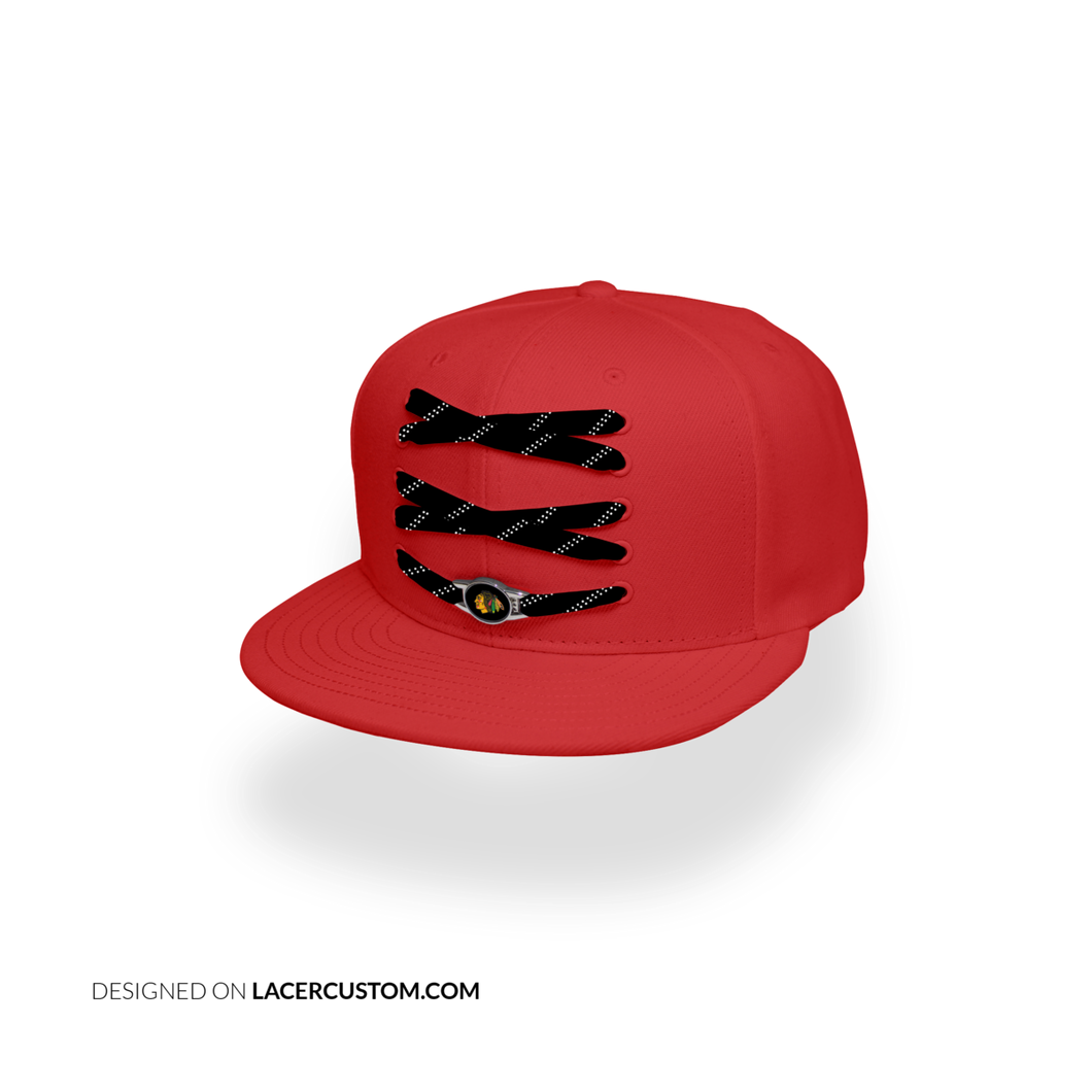 Chicago Custom Red Hockey Lacer Snapback Set