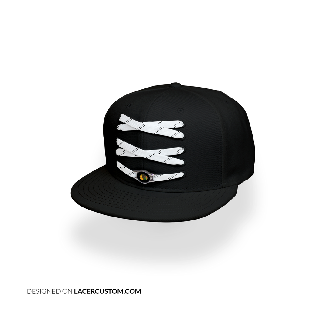 Chicago Custom Black Hockey Lacer Snapback Set