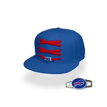 Load image into Gallery viewer, Buffalo Custom Royal Football Lacer Snapback Set