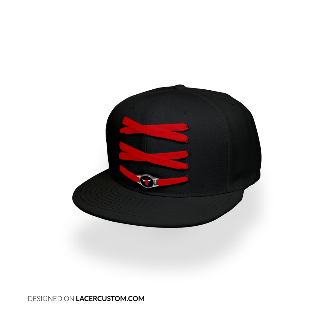 Chicago Custom Black Basketball Lacer Snapback Set
