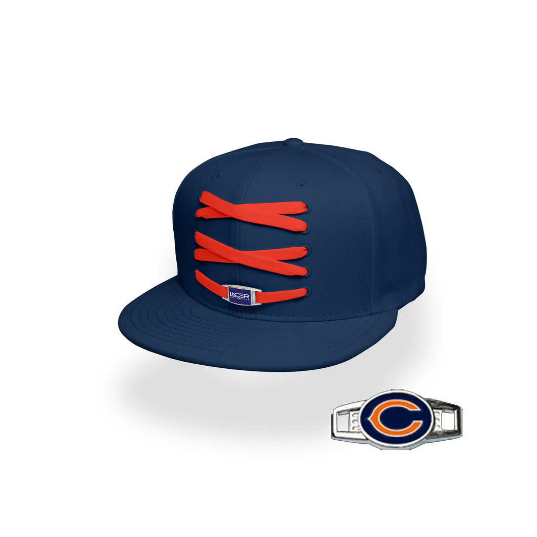Chicago Custom Navy Football Lacer Snapback Set