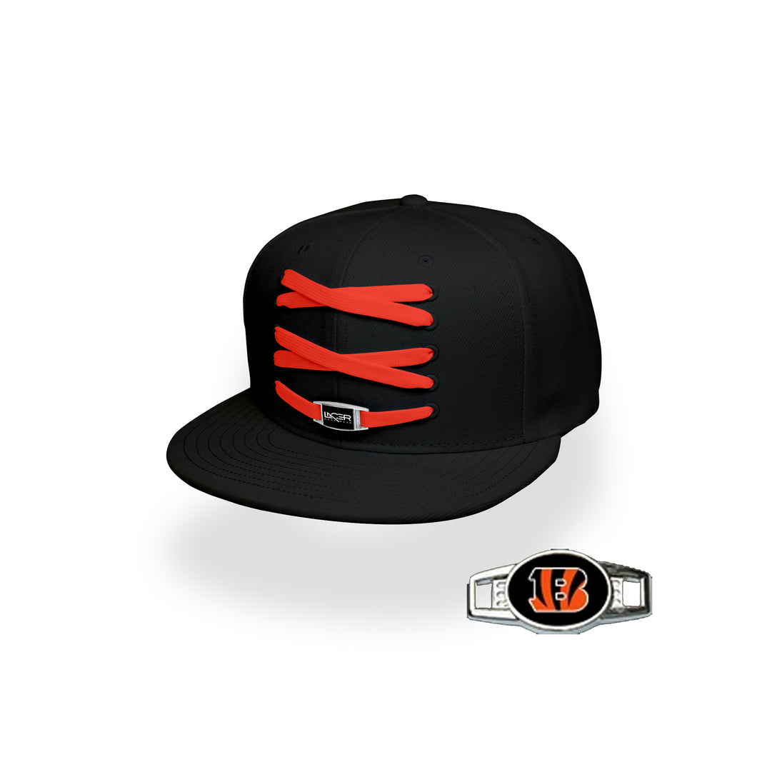 Cincinnati Custom Black Football Lacer Snapback Set