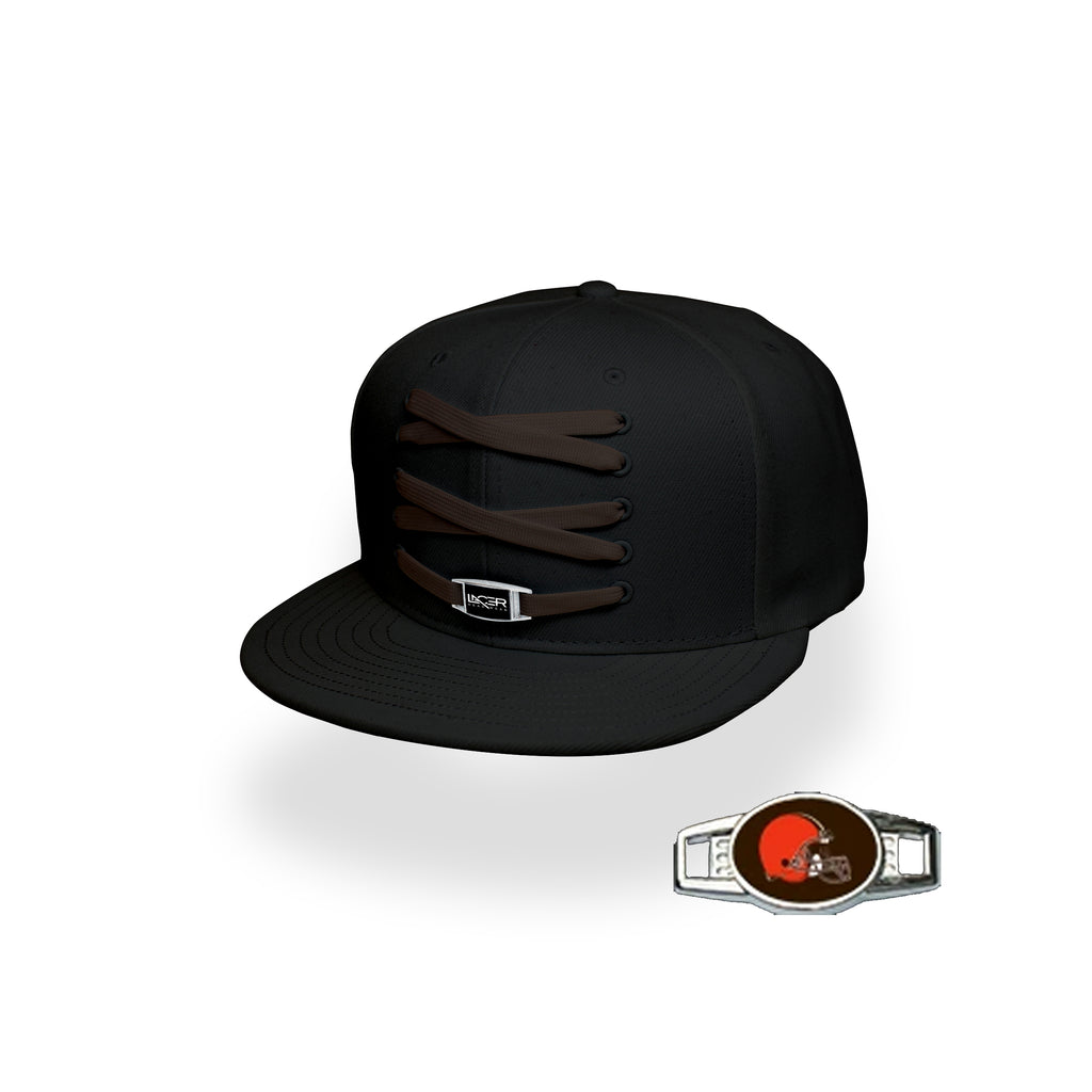 Cleveland Custom Black Football Lacer Snapback Set