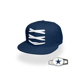 Dallas Custom Navy Football Lacer Snapback Set