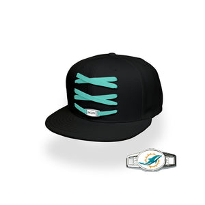 Miami Custom Black Football Lacer Snapback Set