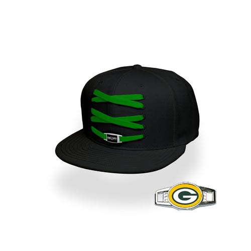 Green Bay Custom Black Football Lacer Snapback Set