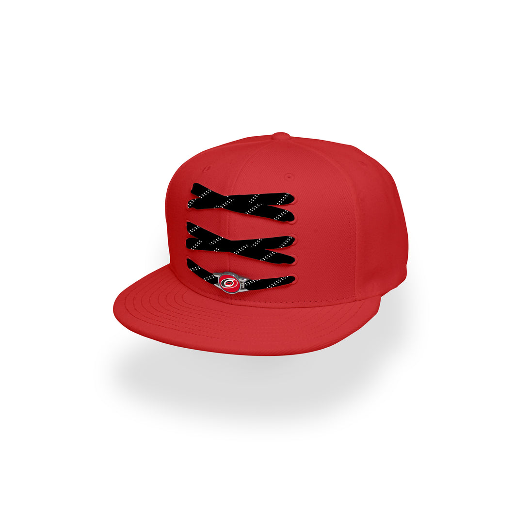 Carolina Custom Red Hockey Lacer Snapback Set