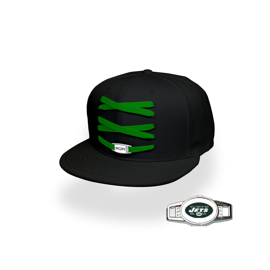 New York Custom Black Football Lacer Snapback Set