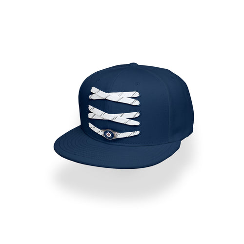 Winnipeg Custom Navy Hockey Lacer Snapback Set