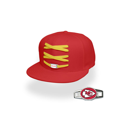 Kansas City Custom Red Football Lacer Snapback Set