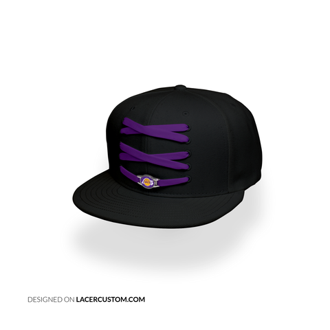 Los Angeles Custom Black Basketball Lacer Snapback Set