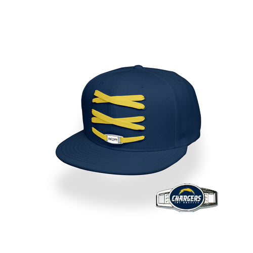 Los Angeles Custom Navy Football Lacer Snapback Set