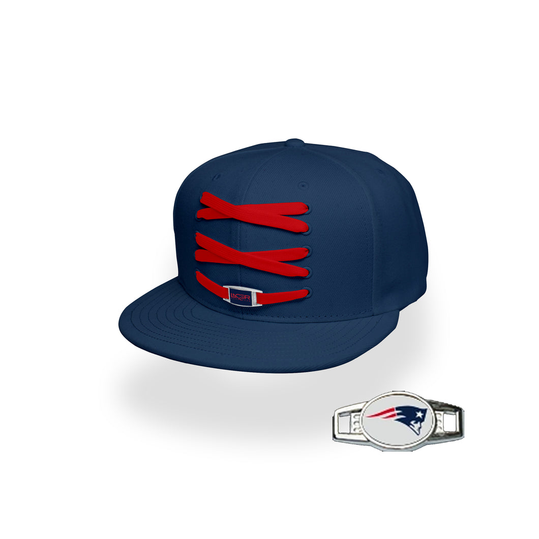New England Custom Navy Football Lacer Snapback Set