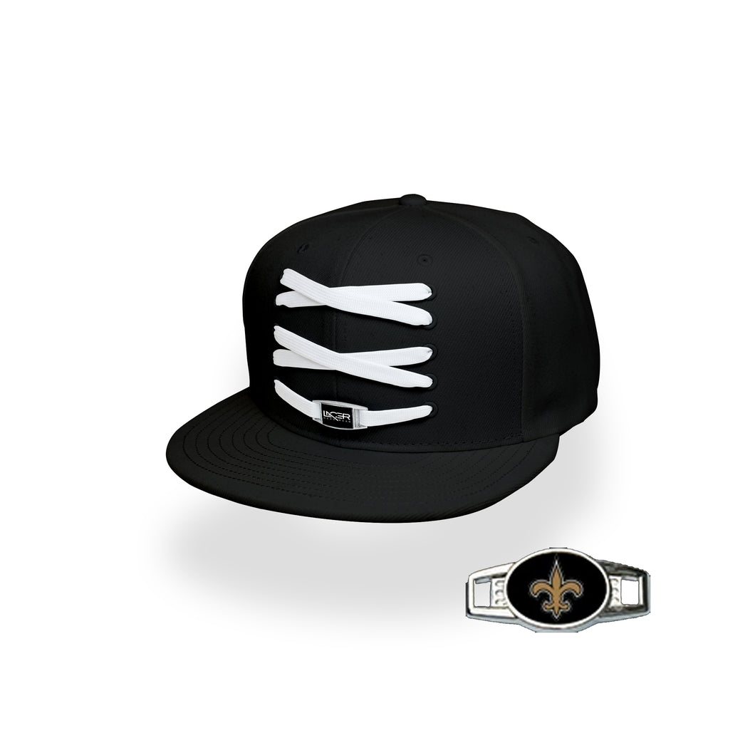 New Orleans Custom Black Football Lacer Snapback Set