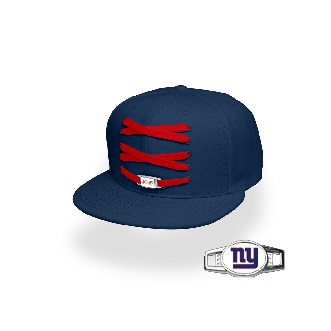 New York Custom Navy Football Lacer Snapback Set