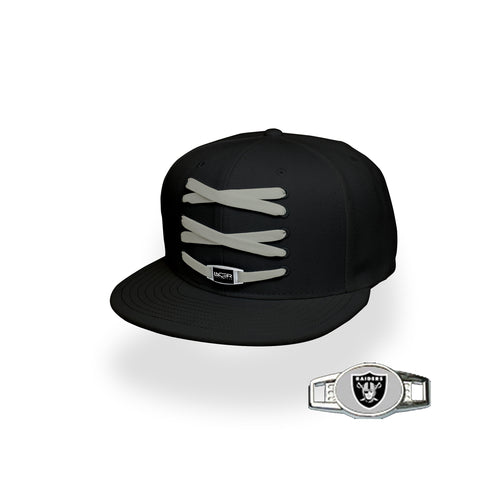 Oakland Custom Black Football Lacer Snapback Set