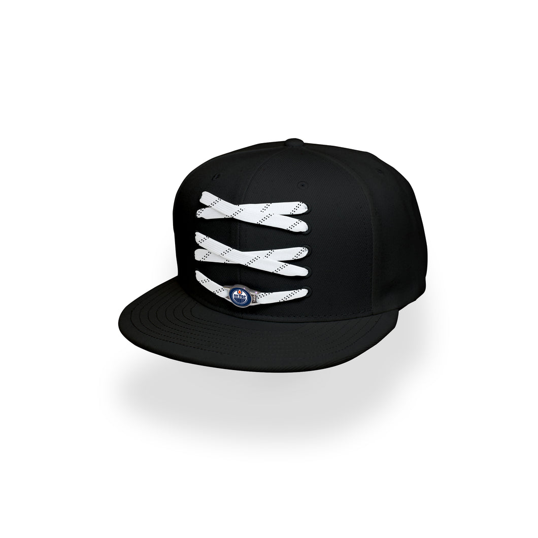 Edmonton Custom Black Hockey Lacer Snapback Set