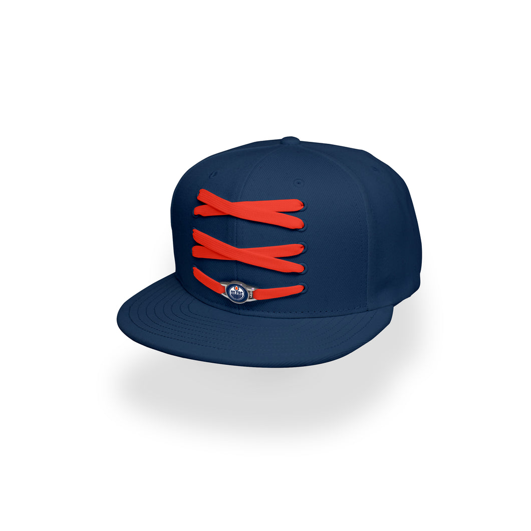 Edmonton Custom Navy Hockey Lacer Snapback Set