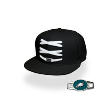 Load image into Gallery viewer, Philadelphia Custom Black Football Lacer Snapback Set