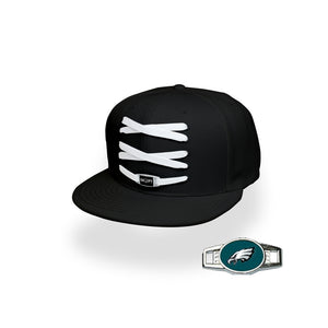 Philadelphia Custom Black Football Lacer Snapback Set