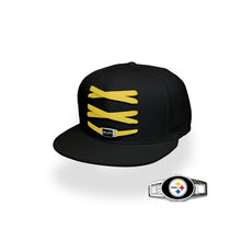 Load image into Gallery viewer, Pittsburgh Custom Black Football Lacer Snapback Set