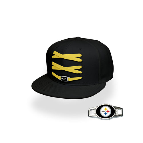 Pittsburgh Custom Black Football Lacer Snapback Set