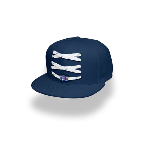 New York Custom Navy Hockey Lacer Snapback Set