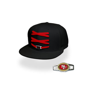 San Francisco Custom Black Football Lacer Snapback Set