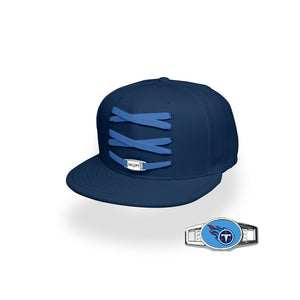 Tennessee Custom Navy Football Lacer Snapback Set