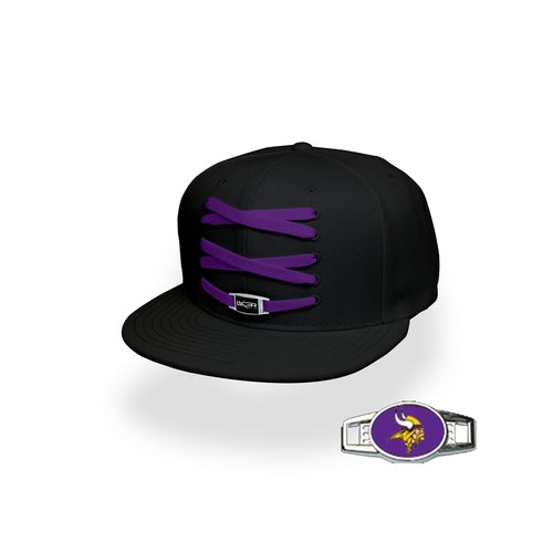 Minnesota Custom Black Football Lacer Snapback Set