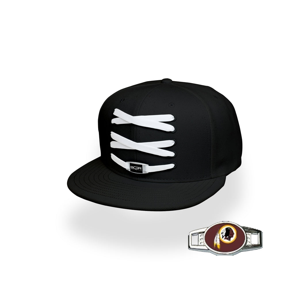 Washington Custom Black Football Lacer Snapback Set