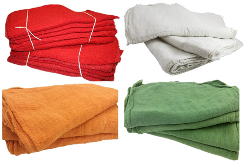 1 Bale 2,500 Pieces Red Cotton Shop Towel Rags **Industrial Grade** New Wipers