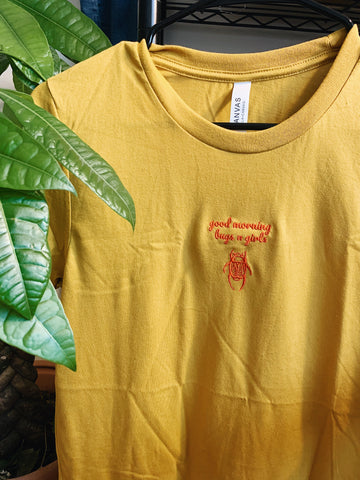 embroidered 'good morning bugs n girls' shirt