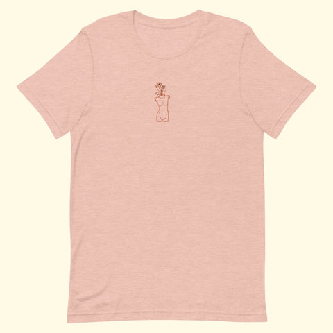 "peach ""growth"" embroidered t-shirt"
