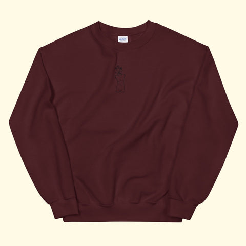 "maroon ""growth"" embroidered crewneck"
