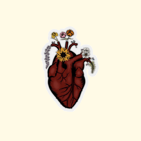 blooming heart sticker