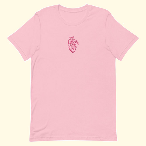 baby pink embroidered heart shirt