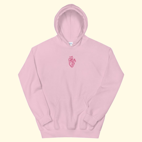 baby pink embroidered heart hoodie