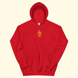 red + gold embroidered heart hoodie