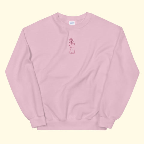 "baby pink ""growth"" embroidered crewneck"