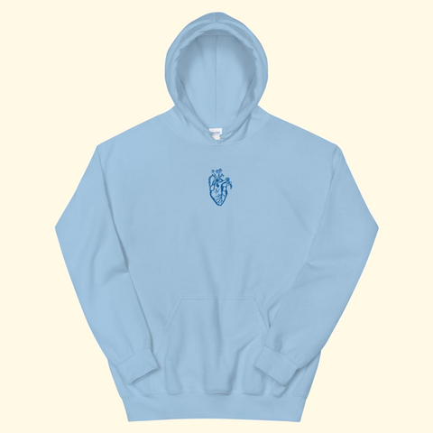 baby blue embroidered heart hoodie